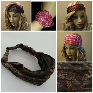 Accessories - HEADBAND BANDANA FLORAL METALLIC BN WRAP HAIR BAND